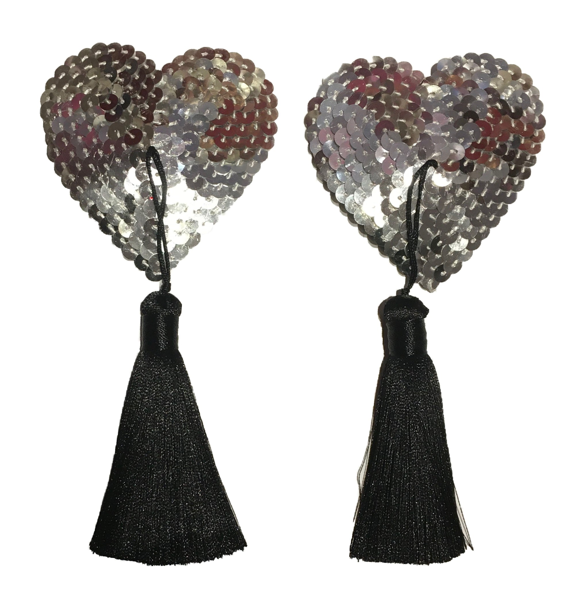 Silver Hearts Sequin Tassels