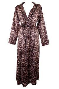 Leopard Print Full Length Robe by Bettie Page