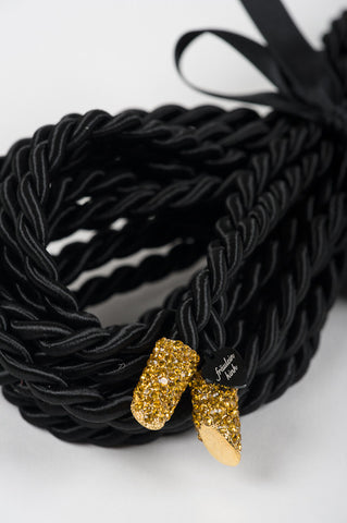 Noir Gold Tip Rope Lasso by Fräulein Kink - She Said Boutique - 1