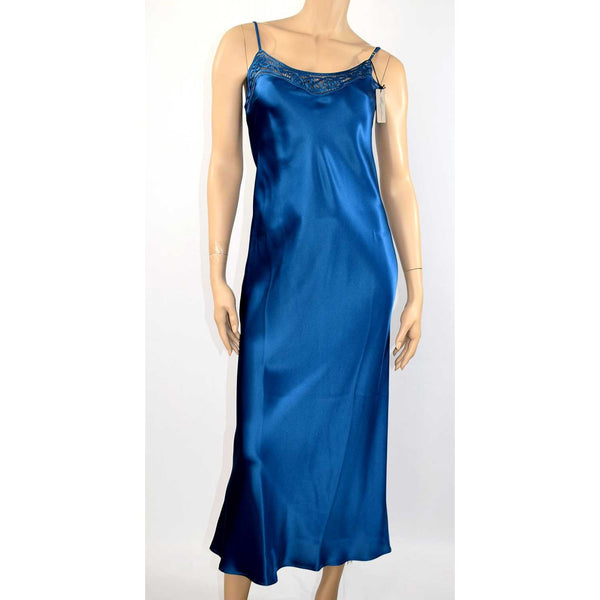Electric Blue Long Silk Slip by Marjolaine