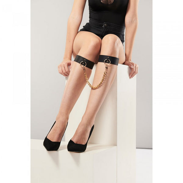 Bijoux Ankle Cuffs (Black/Tan) (v)