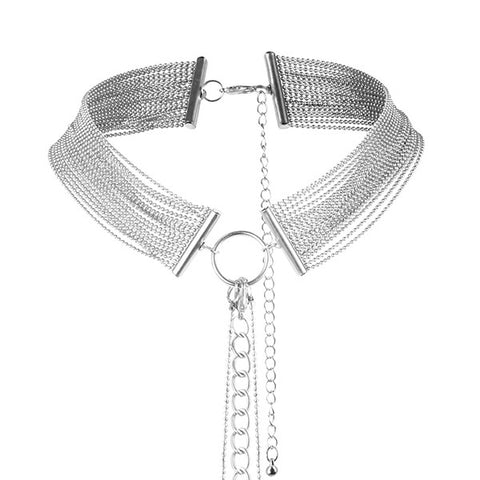 Bijoux Metallic Chain Choker Harness Silver