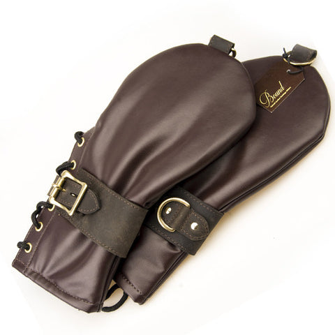 Nubuck Brown Leather Bondage Mittens