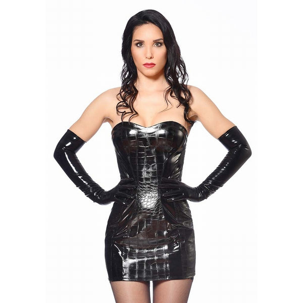 Vika Dress in Faux Croc PVC with Detachable Collar