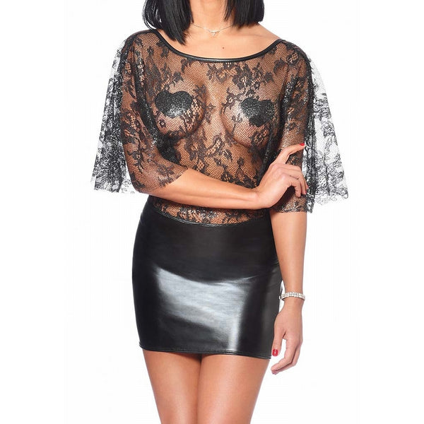 Mulan Sheer Metallic Lace & PVC Mini Dress