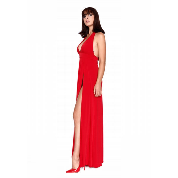 Isabella Long Plunging Side Split Gown Red
