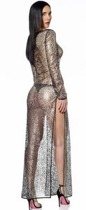 Enza Silver & Black Lurex Lace Gown