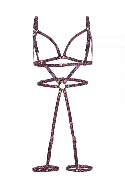 Caged Body & Leg Harness - Purple Snake