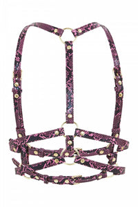 Chest Harness - Purple Snake Vegan Leather