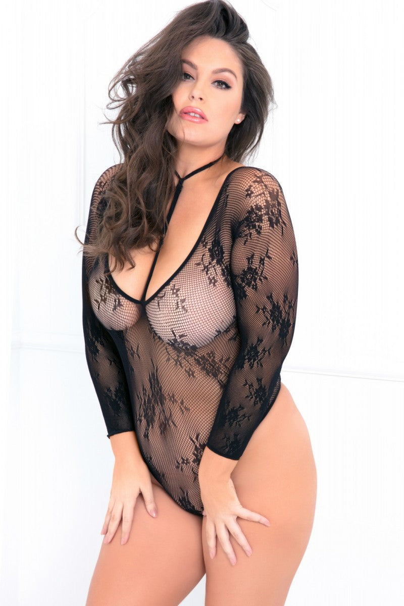Sleeved Floral Net Bodysuit with Harness