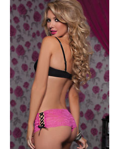 Pink Open Crotch Shortie with ribbon detail