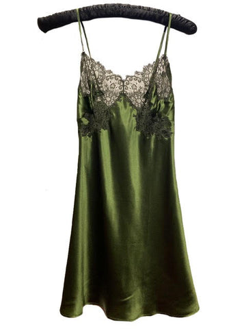 Marjolaine Silk Slip with Lace Applique Olive