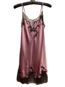 Marjolaine Silk Slip with Lace Applique Mauve Dusk