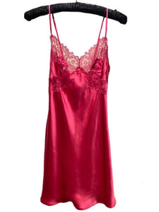 Marjolaine Silk Slip with Lace Applique Ruby Pink