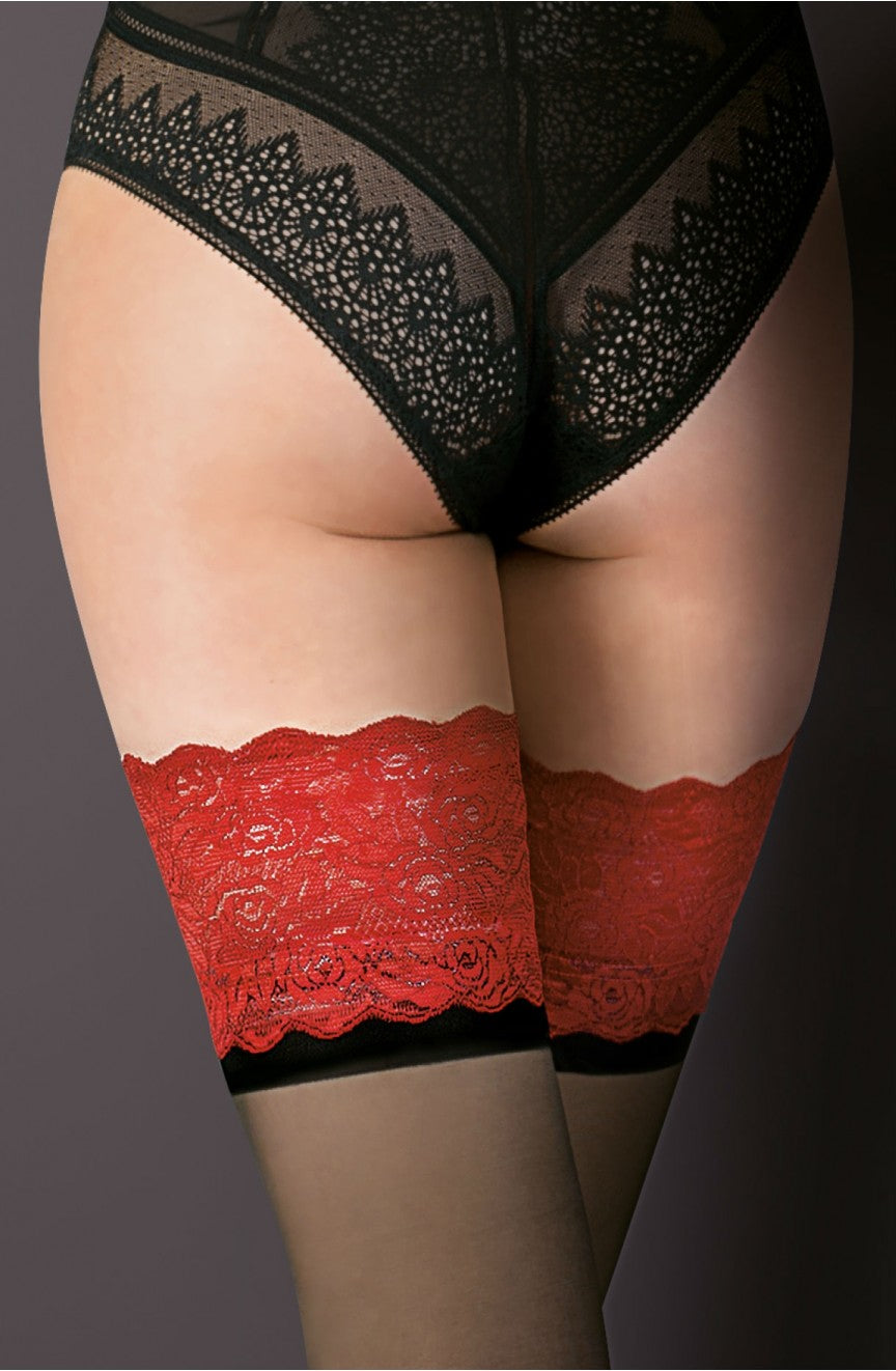 Deep red lace top Hold Ups