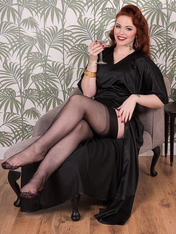 Satin Full Length Vintage Lounge Robe Black