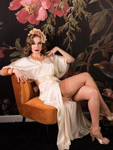 Satin Full Length Vintage Lounge Robe Ivory