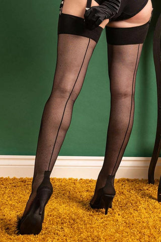 Black Backseam Cuban Heel Stockings