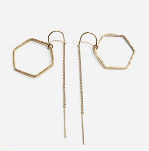 HEXAGON THREADER EARRINGS
