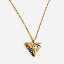 Load image into Gallery viewer, EVIL EYE TRIANGLE NECKLACE