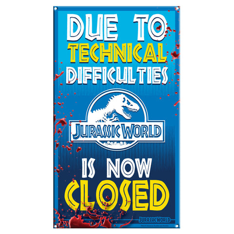 Jurassic World Ride Closed Metal Sign
