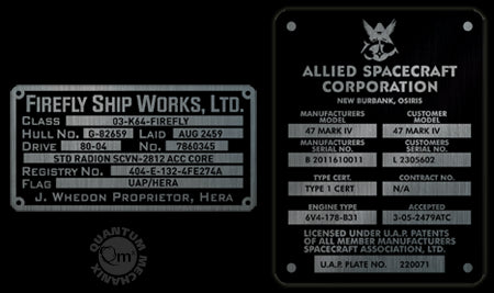 Firefly Builder's Plaques Metalized Sticker Set