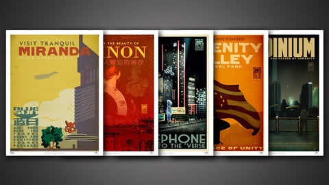 Firefly Blue Sun Travel Poster Set