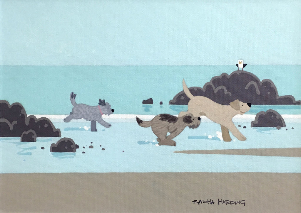 Sasha Harding, Original Acrylic - Dogs running on Lligwy beach