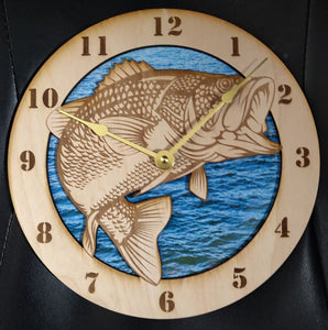 "10"" Large Mouth Bass Wall Clock"