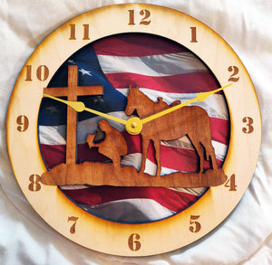 "10"" Cowboy at the Cross/American Flag Wall Clock"