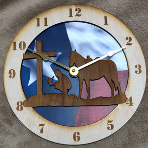 "10"" Cowboy at the Cross/Texas Flag Wall Clock"