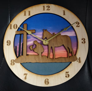 "10"" Cowboy at the Cross Wall Clock"