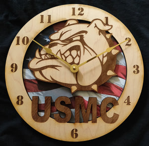 "USMC Devil Dog 10"" Wall Clock"