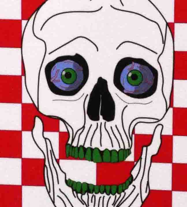 "Red and white checked pattern and skull - Grip Tape 9""x33"""