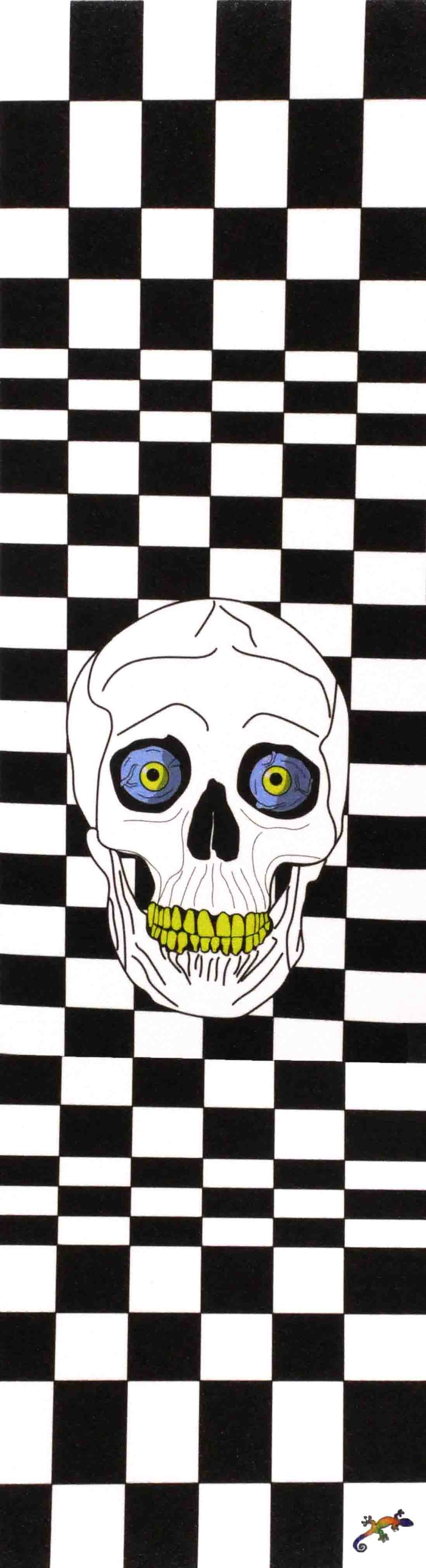 "Black and white checked pattern and skull - Grip Tape 9""x33"""