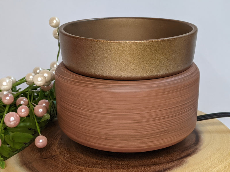 Bronze & Walnut 2-in-1 Candle and Wax Warmer