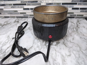 Black and Antique Gold 2-in-1 Candle and Wax Warmer