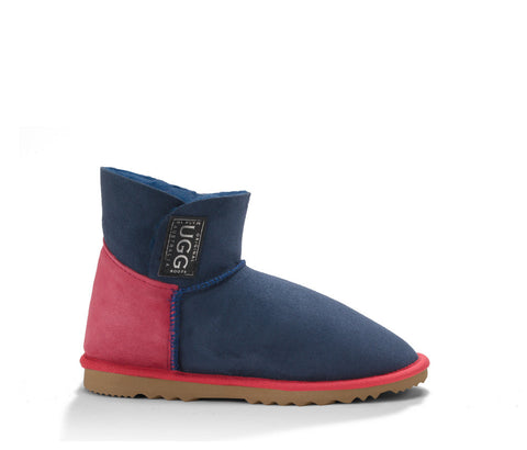 Two Tone Mini Velcro UGG Boots