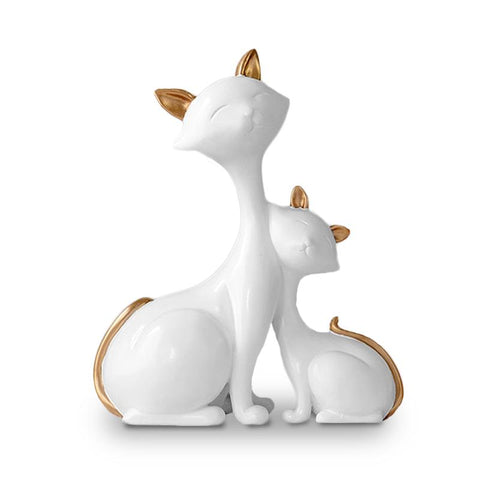 Statuette chat blanc