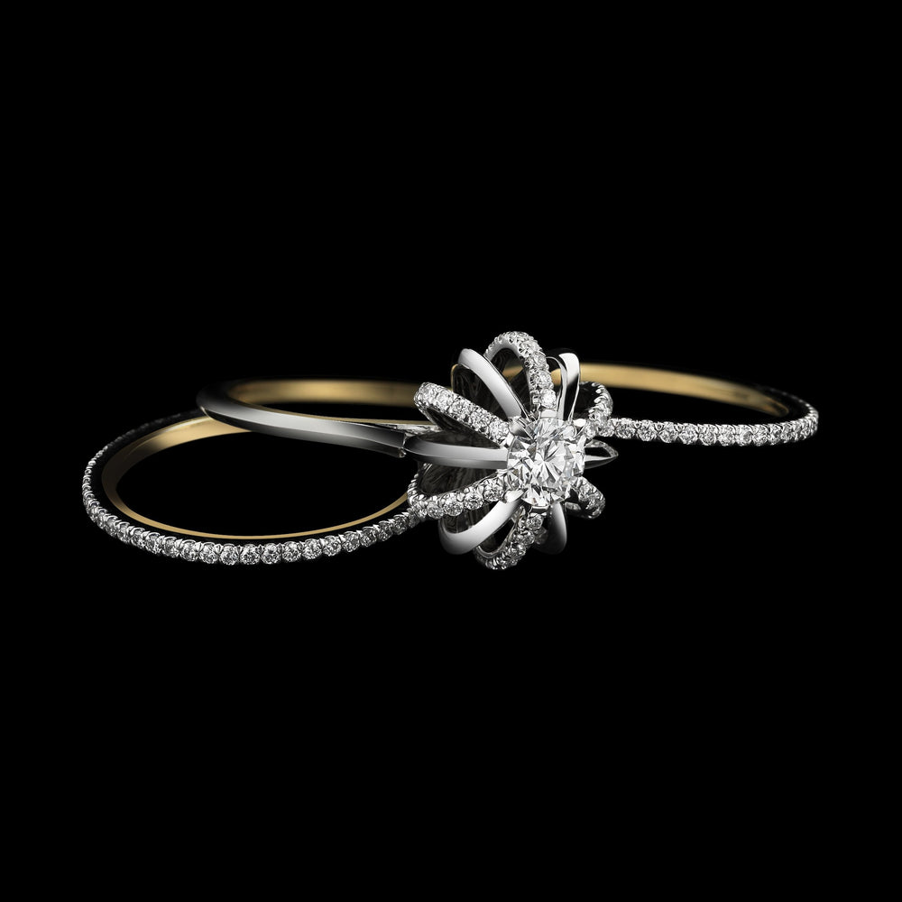 Load image into Gallery viewer, Platinum Signature Diamond Snowflake Three Ring Set with Round Center Diamond - Alexandra Mor online