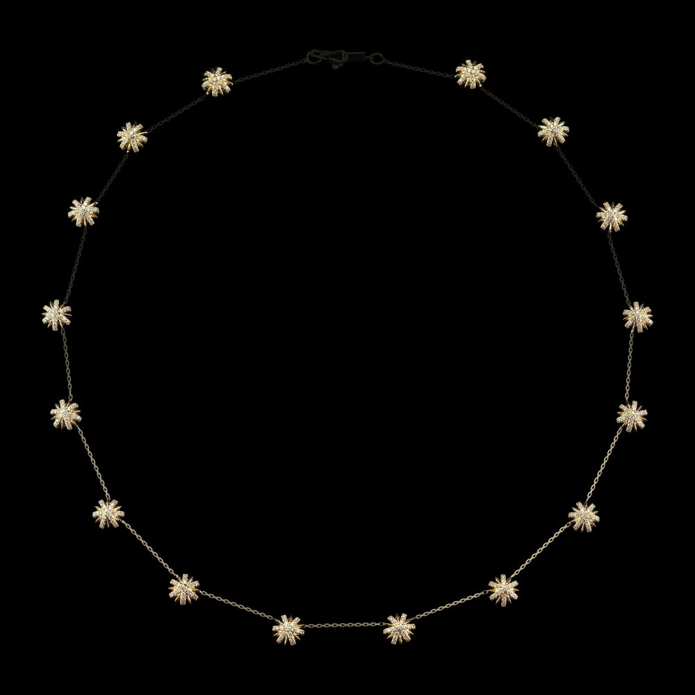 18K Yellow Gold Snowflake Elements Chain