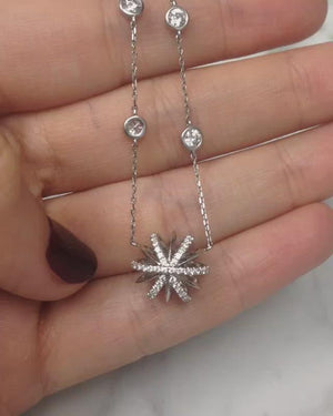 Load and play video in Gallery viewer, Platinum Diamond Snowflake Pendant and Bezel-Set Diamond Chain Necklace