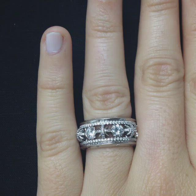 Load and play video in Gallery viewer, Narrow Snowflake & Brilliant Cut Diamond Eternity Band