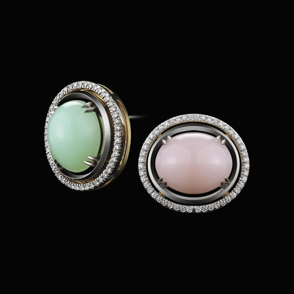 Green & Pink Oval Opal Cabochon with Diamond Jackets - Alexandra Mor online