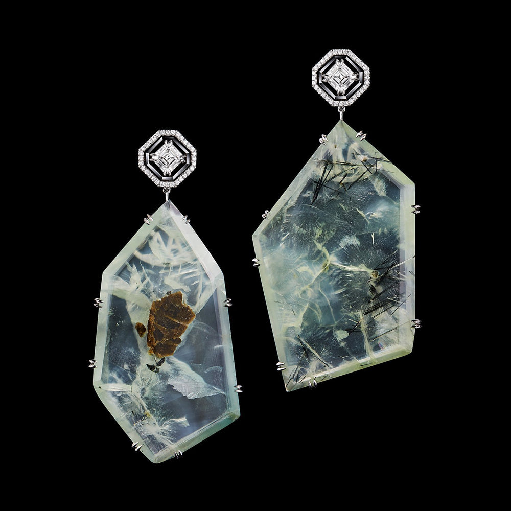 Load image into Gallery viewer, Asscher-Cut Diamond and Prehnite Precious Stone Earrings