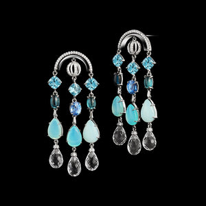 Arched Sautoir Earrings with Diamonds, Precious Stones & Snowflakes - Alexandra Mor online