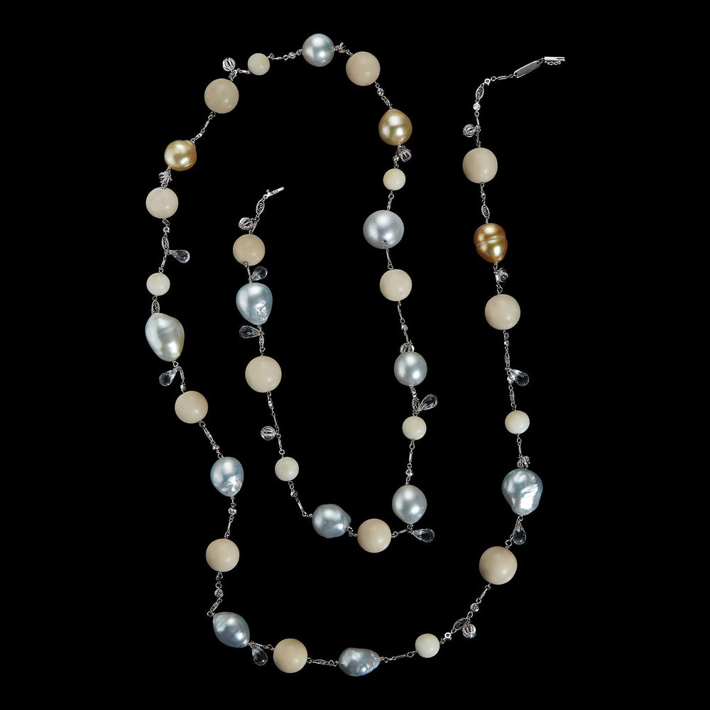 Load image into Gallery viewer, Tagua & South Sea Artisanal Farm Pearls and Bead Sautoir Necklace