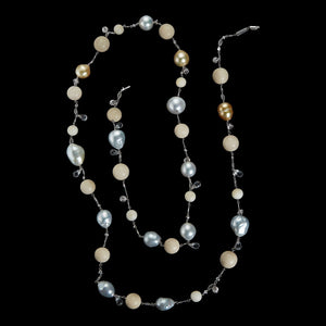 Tagua & South Sea Artisanal Farm Pearls and Bead Sautoir Necklace