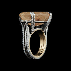 Load image into Gallery viewer, Oval Cut Rutilated Quartz & Diamond Ring - Alexandra Mor online
