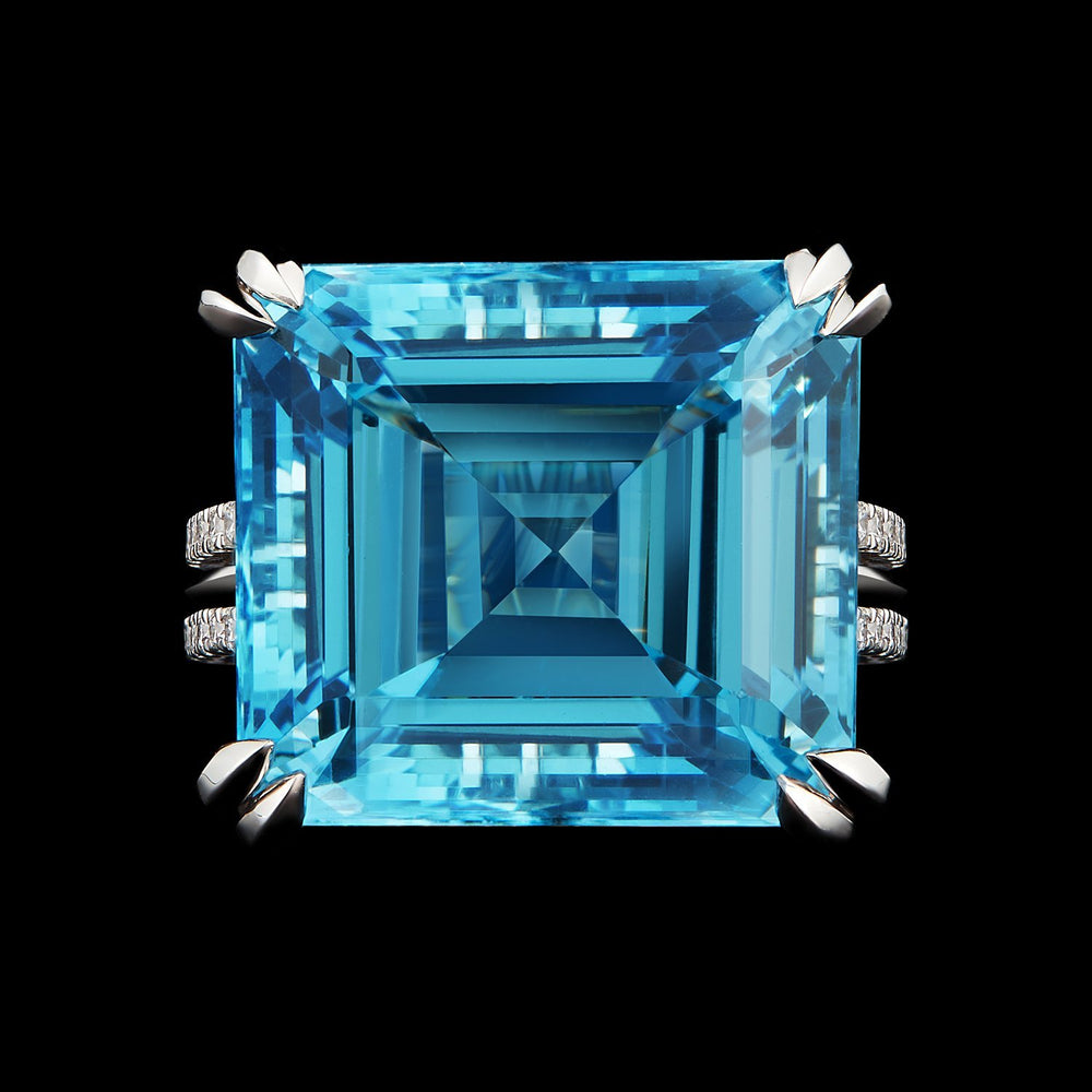 Emerald-Cut Aquamarine & Diamond Ring - Alexandra Mor online